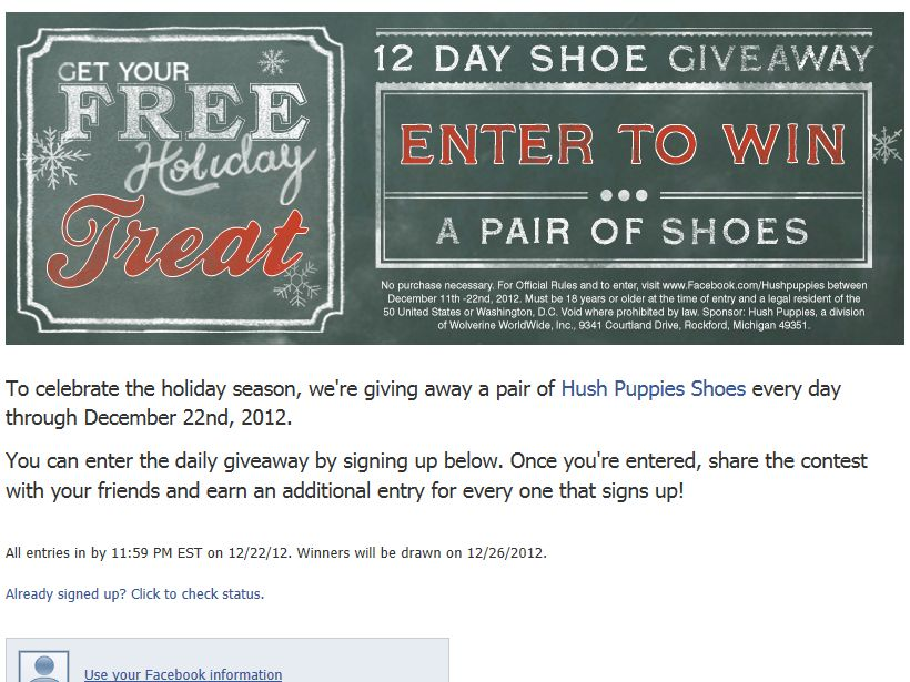 Hush Puppies 2012 12 Days Facebook Contest