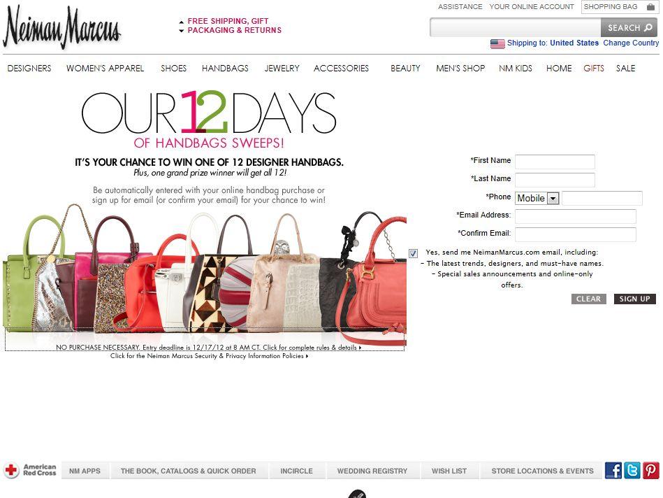 Neiman Marcus 12 Days of Handbags Sweepstakes