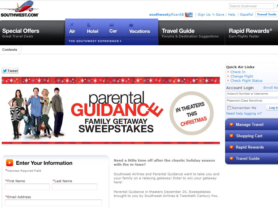 Southwest Parental Guidance Family Getaway Sweepstakes