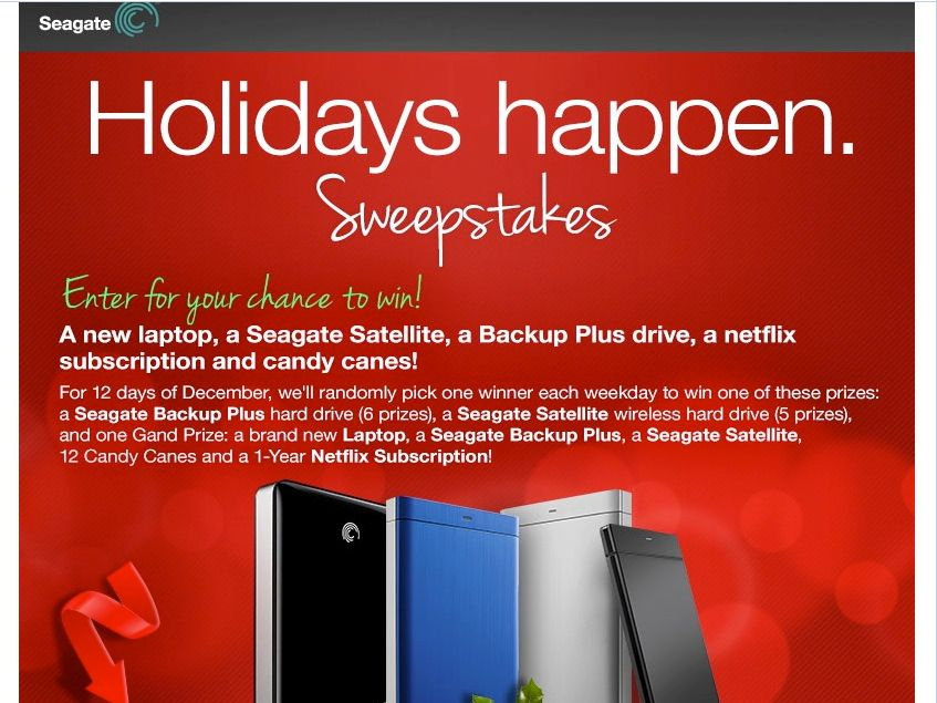 Seagate Holidays Happen Sweepstakes