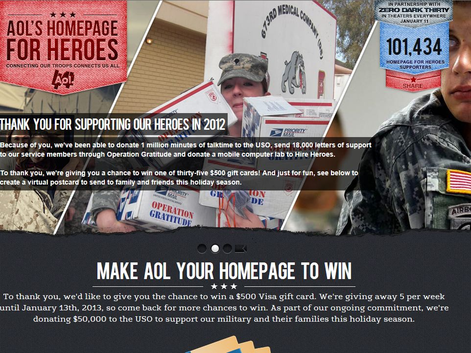 AOL.com Homepage for Heroes Sweepstakes