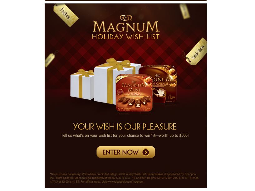 Magnum Holiday Wish List Sweepstakes