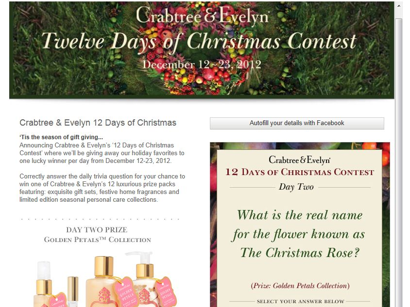 Crabtree & Evelyn's 12 Days of Christmas Trivia Contest