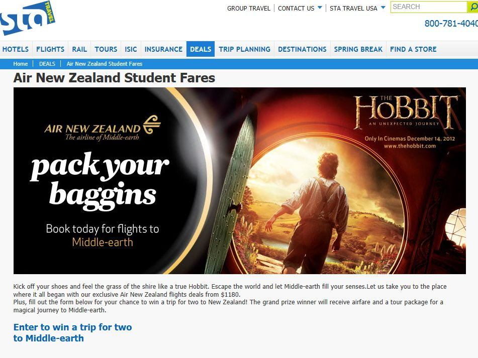 STA Travel and Air New Zealand Middle-earth Sweepstakes