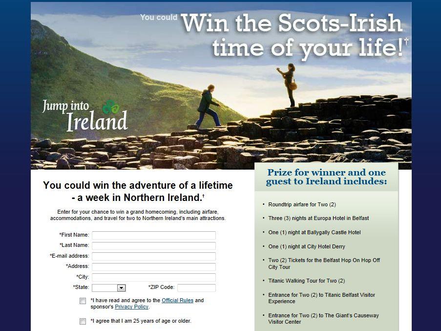 Tourism Ireland Scots Irish 2012 Sweepstakes