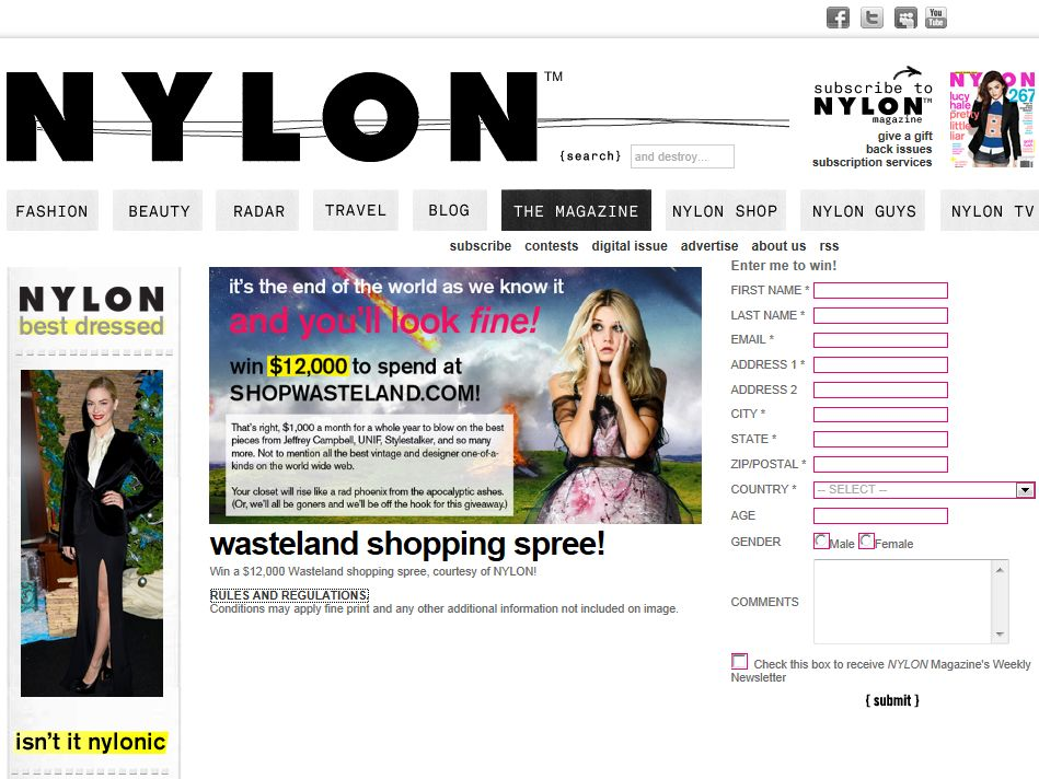NYLON Magazine and Wasteland Contest