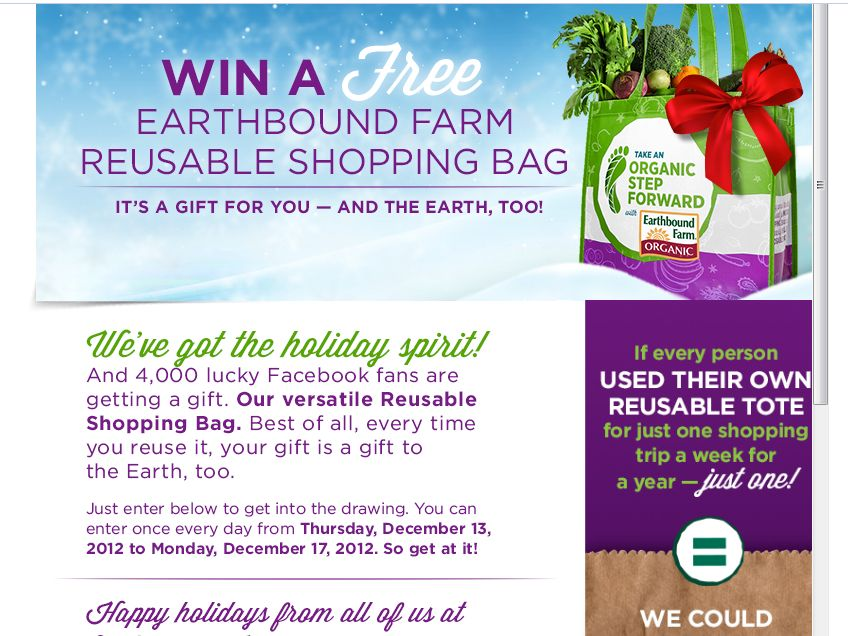 Earthbound Farm Shopping Bag Holiday Giveaway