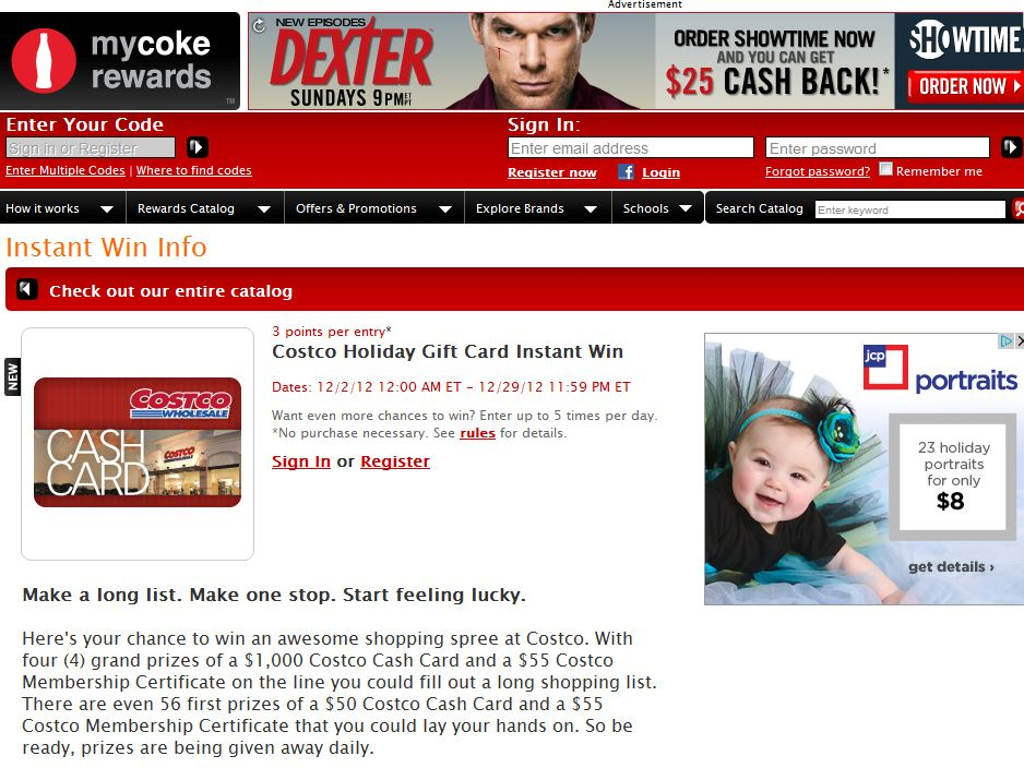 Costco Holiday Gift Card Instant Win