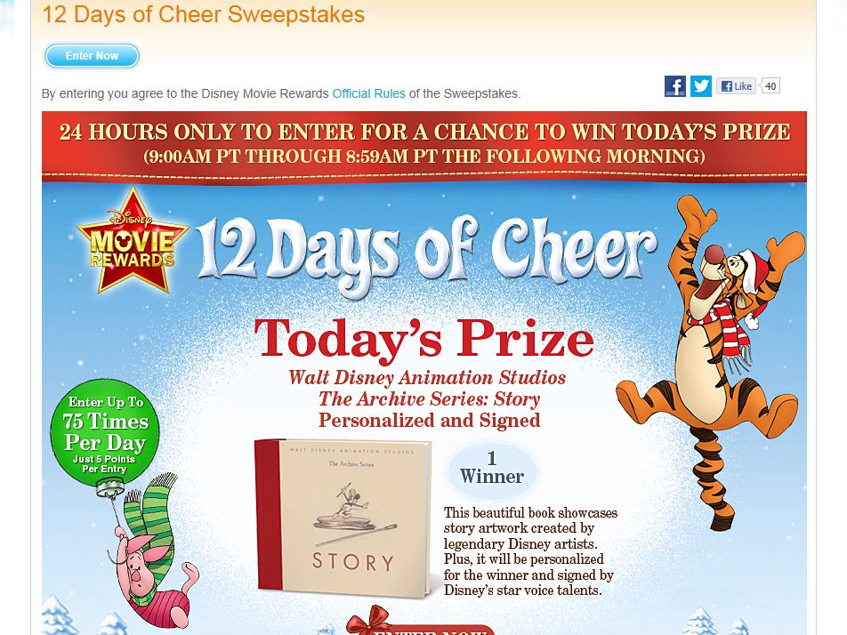 Disney Movie Rewards 12 Days of Cheer Sweepstakes