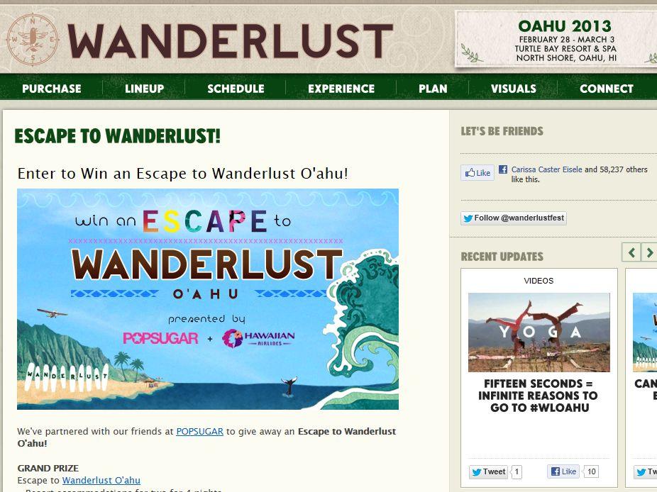 Escape to Wanderlust O'ahu Sweepstakes