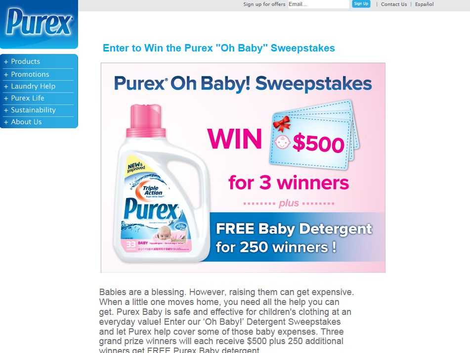 Purex Oh Baby Detergent Sweepstakes