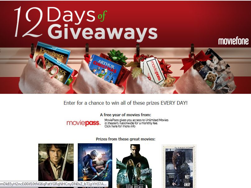 AOL Moviefone 12 Days of Giveaways