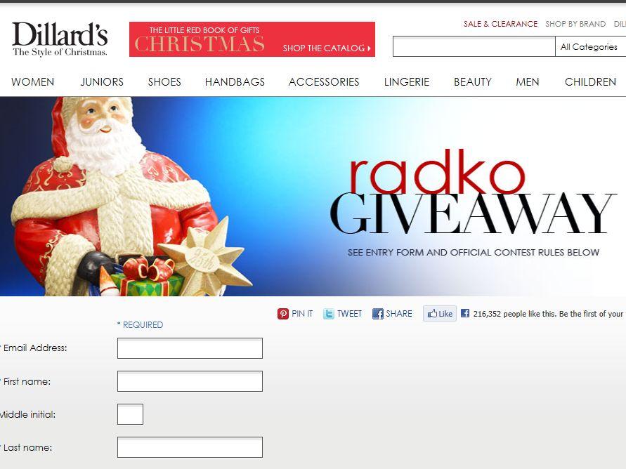 Dillard's Radko Ornament Giveaway
