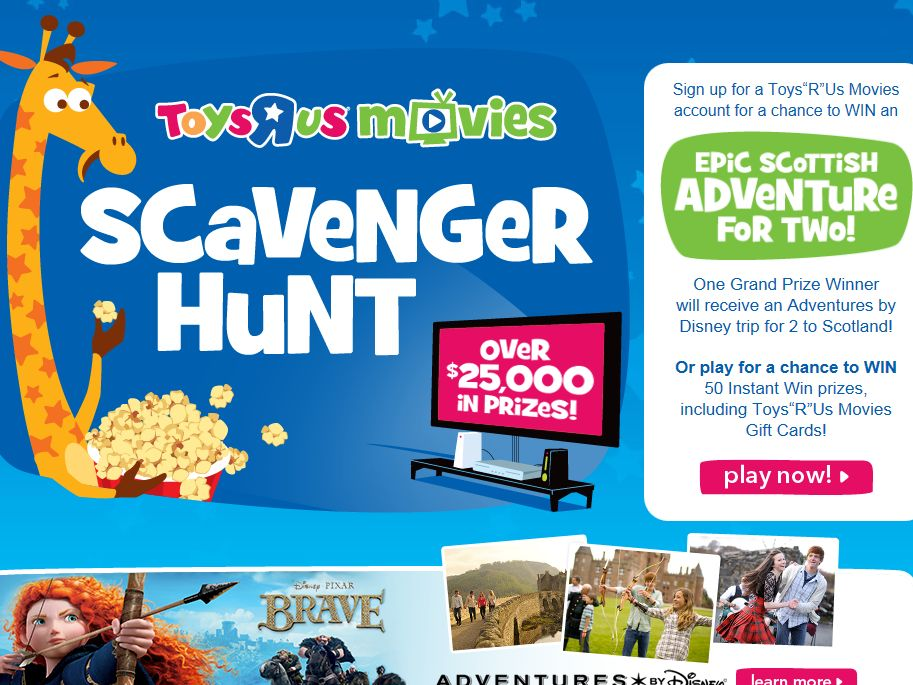 """Toys""""R""""Us Movies Scavenger Hunt Sweepstakes"""