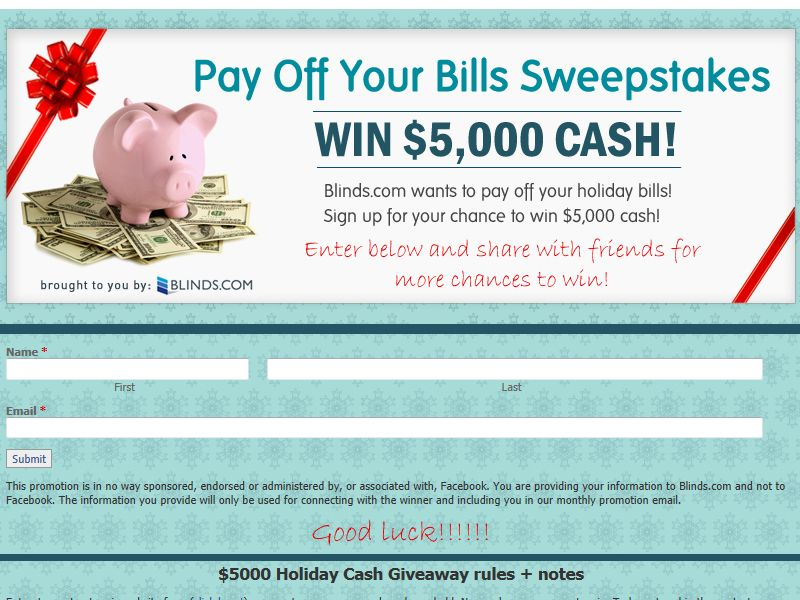 Blinds.com Pay Off Your Bills Sweepstakes