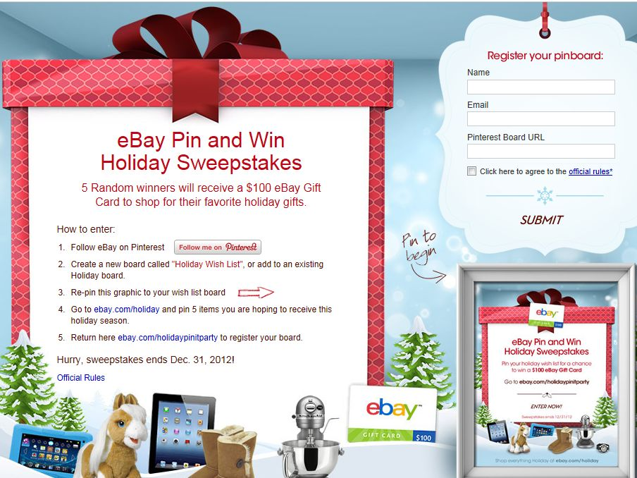 eBay Holiday PIN AND WIN Sweepstakes