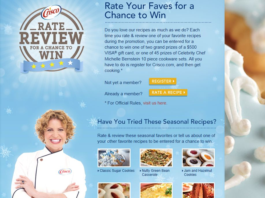 Crisco Rate & Review Promotion