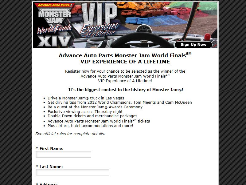 Advance Auto Parts Monster Jam World Finals VIP Experience of a Lifetime Sweepstakes