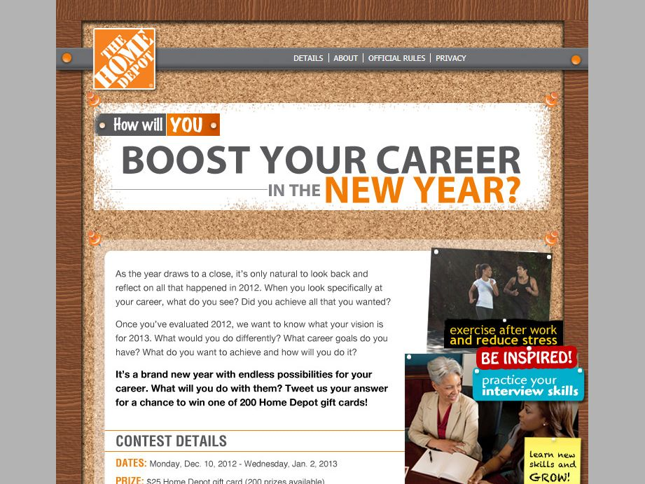Home Depot 2013 Boost Your Career Sweepstakes