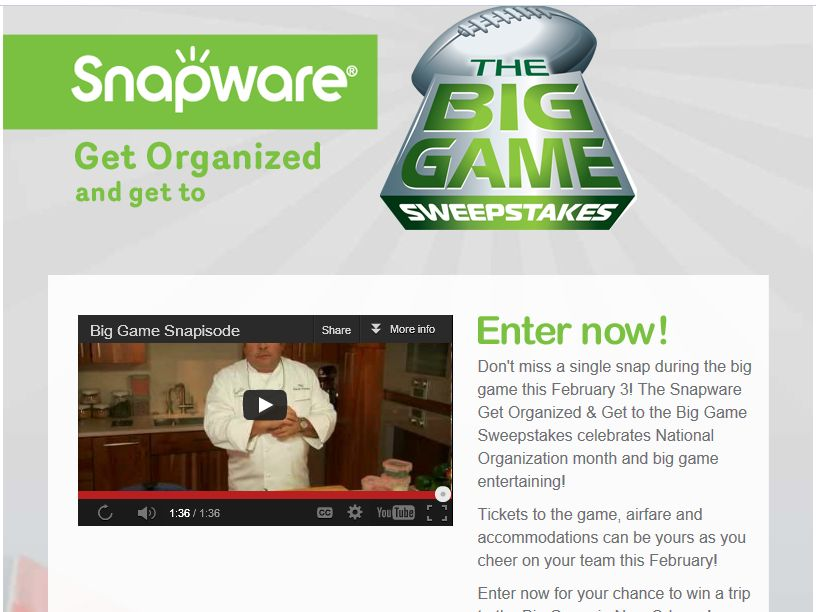 Snapware Get Organized & Get to the Big Game Sweepstakes