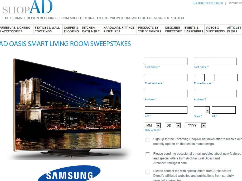 AD Oasis Smart Living Room Sweepstakes