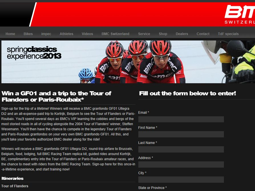 BMC Spring Classic Experience 2013 Sweepstakes