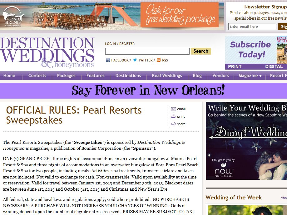 Pearl Resorts Sweepstakes