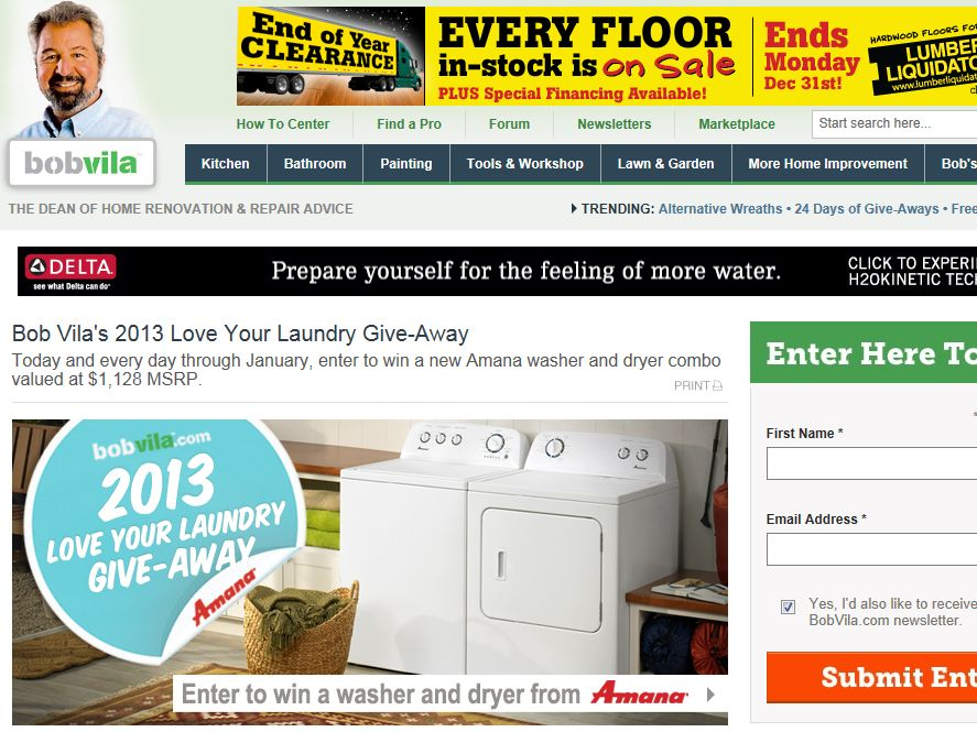 Bob Vila's 2013 Love Your Laundry Give-Away from Amana Sweepstakes