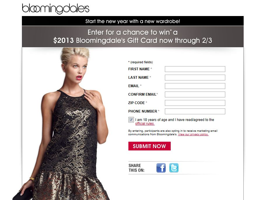 Bloomingdale's New Year's Sweepstakes