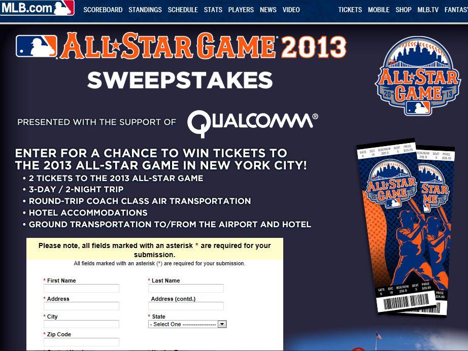 MLB.com Qualcomm Sweepstakes