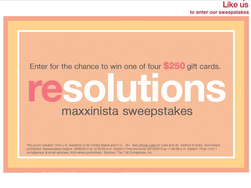 T.J. Maxx Resolutions Maxxinista Sweepstakes