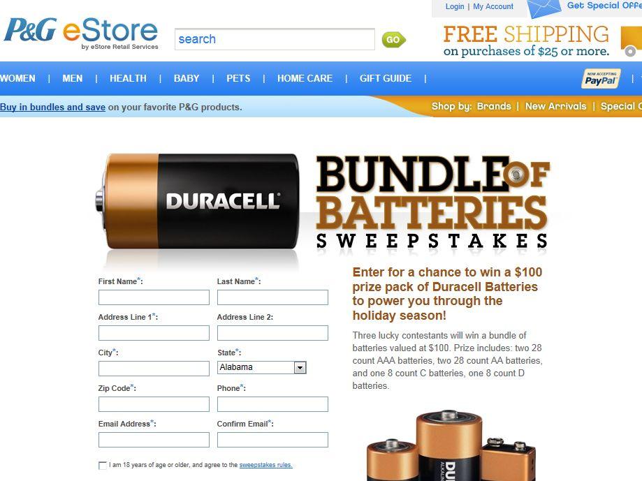 P & G eStore Bundle Of Batteries Sweepstakes