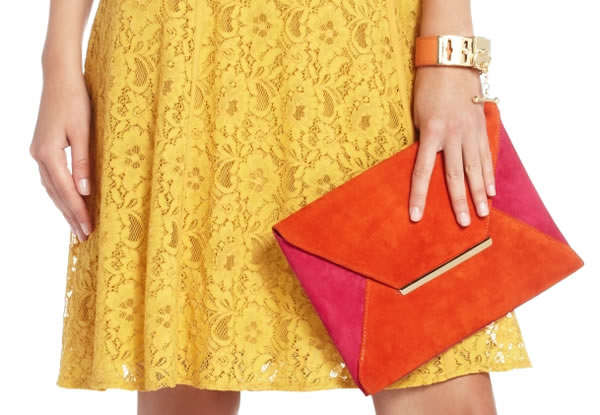 Harlow Color Blocked Envelope Clutch by BCBG MAXAZRIA