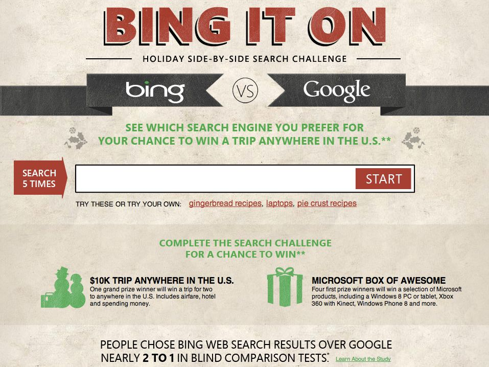 Bing It On Holiday Sweepstakes
