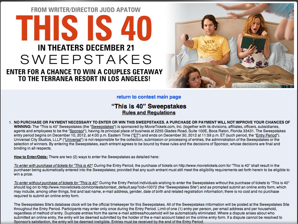 """""""This is 40"""" Sweepstakes"""