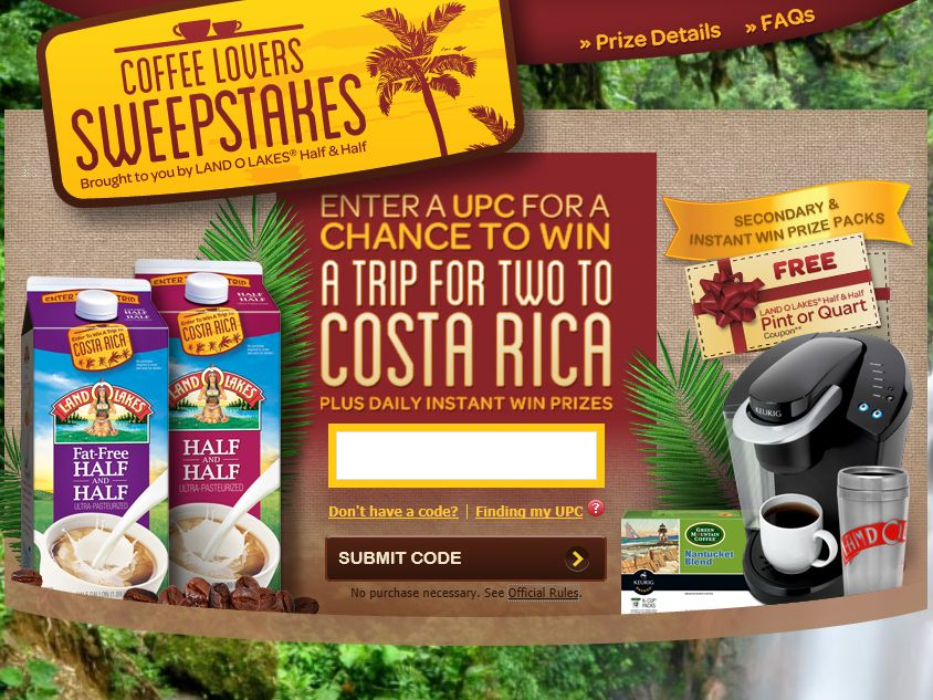 Land O Lakes Coffee Lovers Sweepstakes