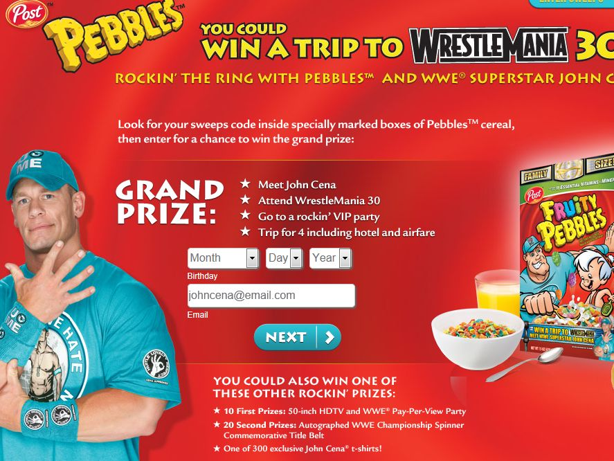 Post Pebbles WWE Sweepstakes
