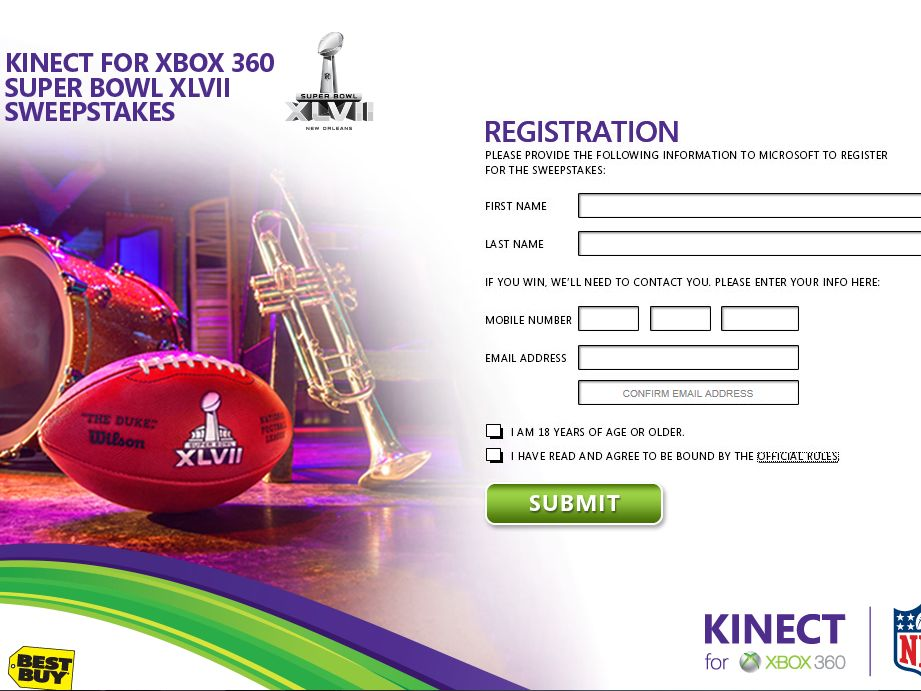 Kinect for Xbox 360 Super Bowl Sweepstakes