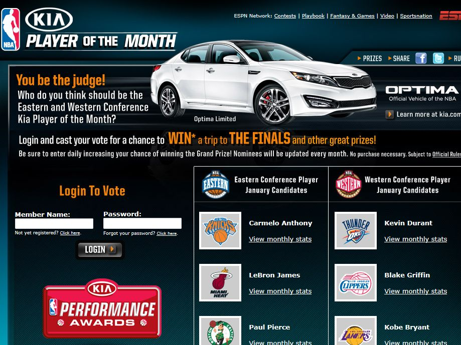 Player of the Month Presented by Kia Sweepstakes
