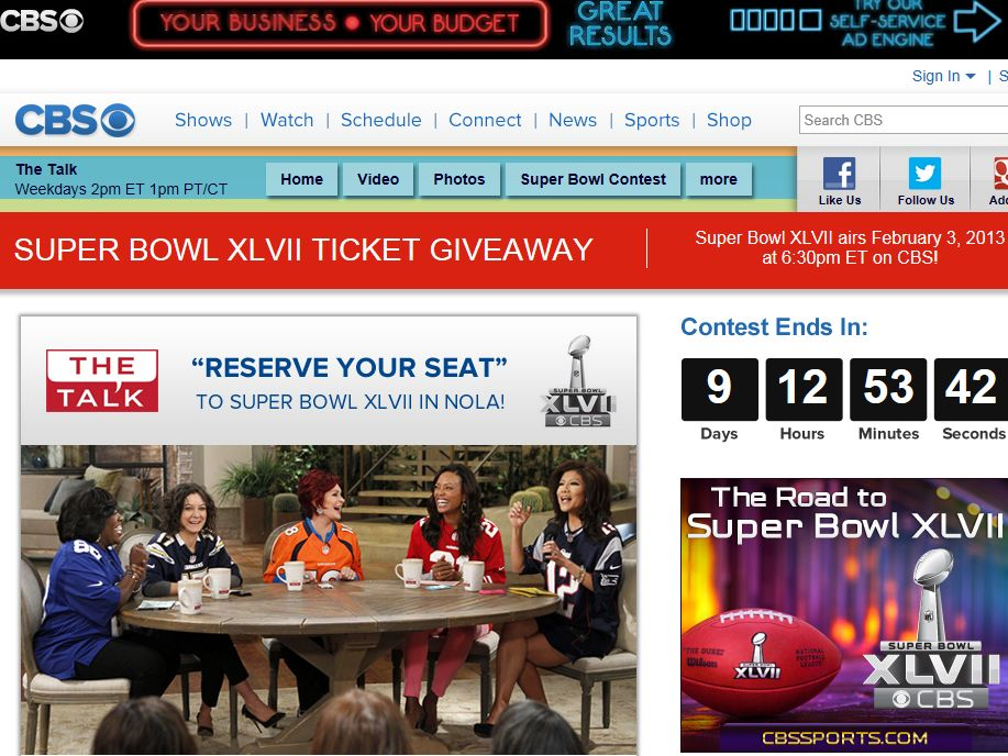 CBS Reserve Your Seat Sweepstakes