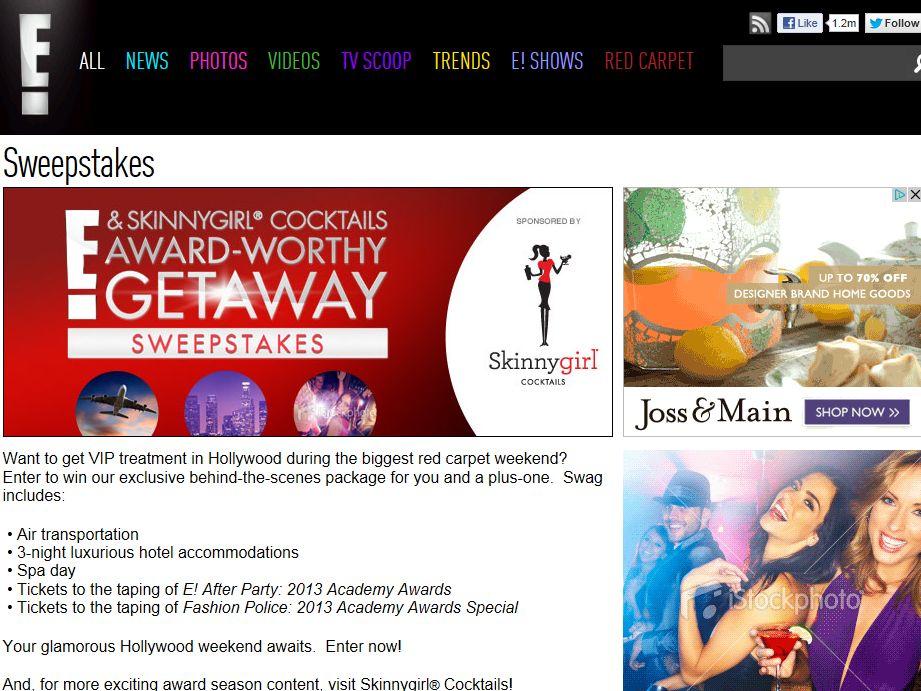 E! & Skinnygirl Cocktails Award-Worthy Getaway Sweepstakes