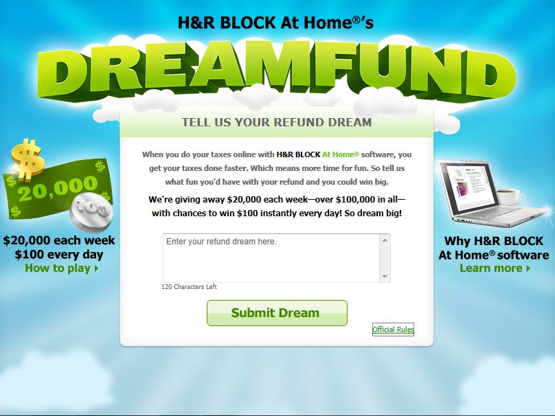 H&R Block At Home's Dreamfund Sweepstakes