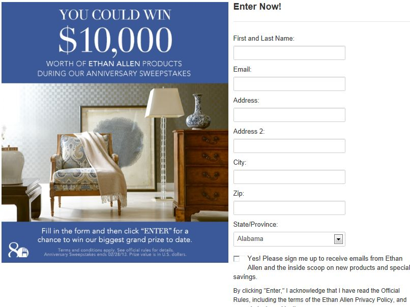 Ethan Allen 2013 $10,000 Anniversary Sweepstakes