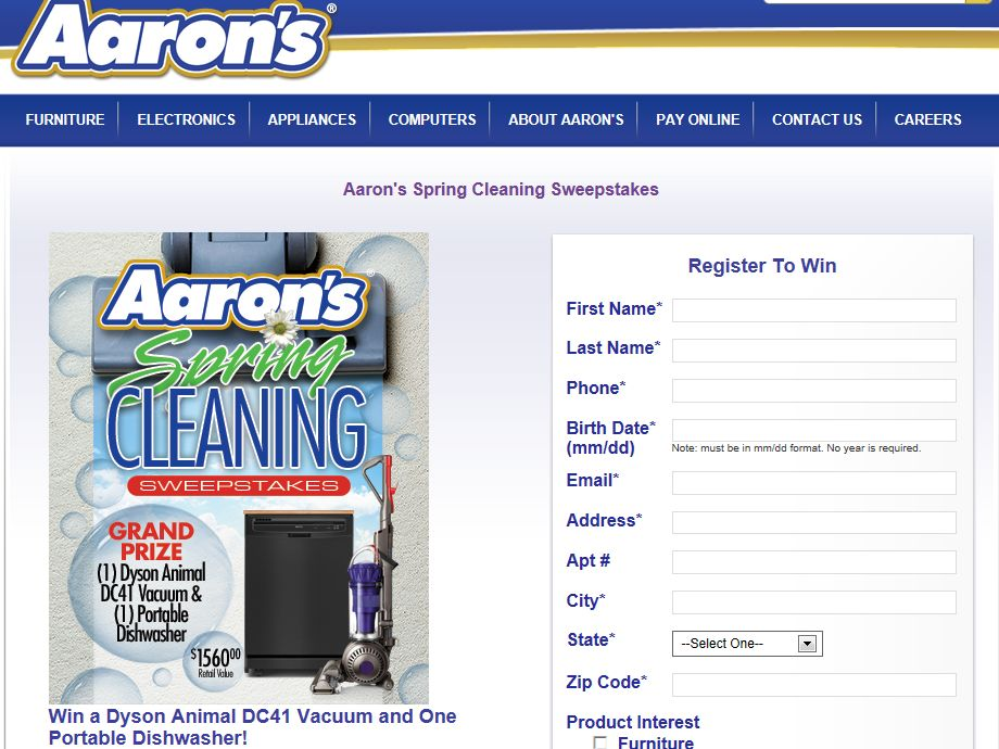 Aaron's Spring Cleaning Sweepstakes