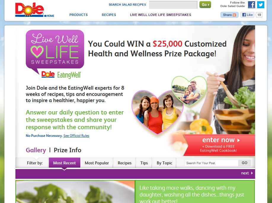 DOLE Salads Live Well, Love Life Sweepstakes
