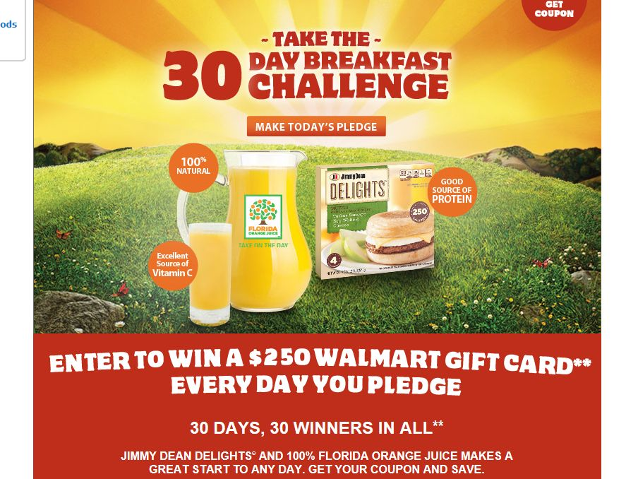 Jimmy Dean and Florida Orange Juice 30-Day Challenge Sweepstakes