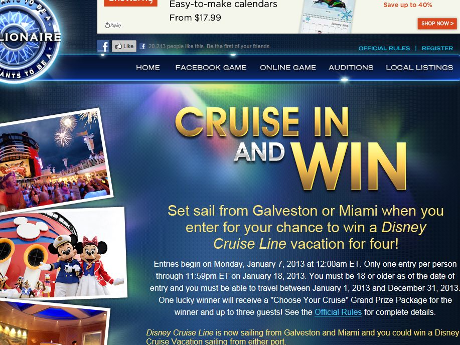 Disney Cruise Line Millionaire Cruise In and Win Sweepstakes