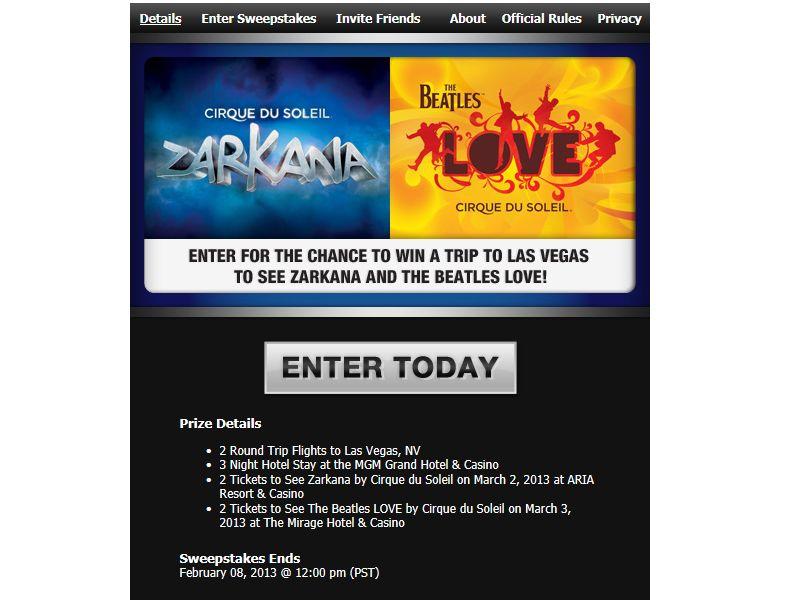 Cirque Du Soleil's Zarkana & Love Ticketmaster FB Sweepstakes