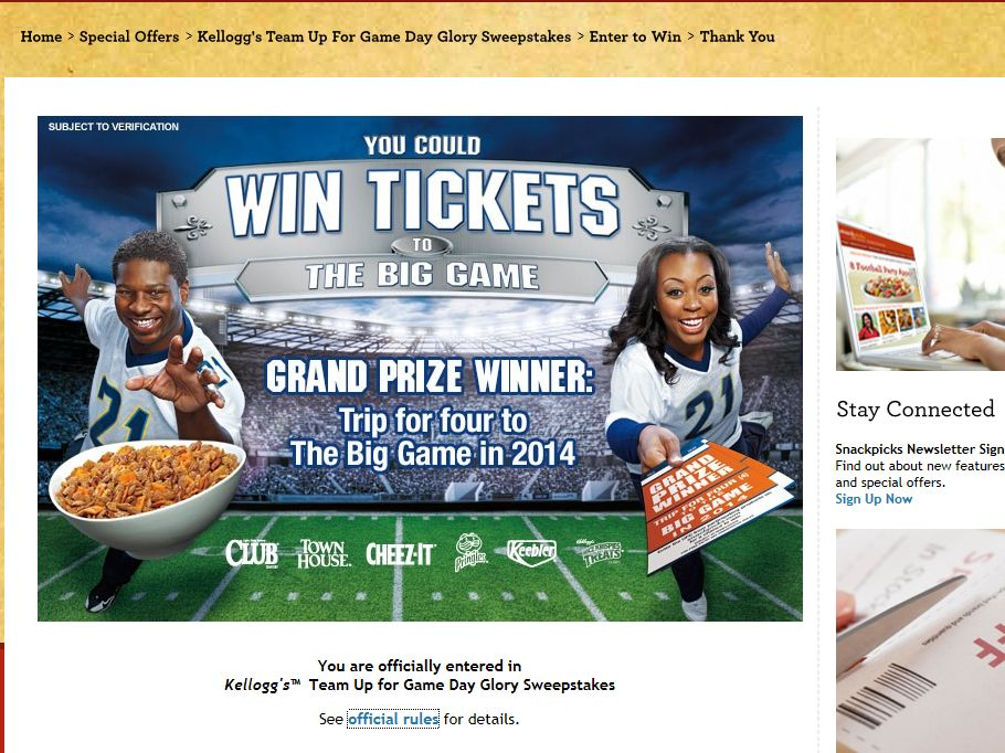 Kellogg's Team Up for Game Day Glory Sweepstakes