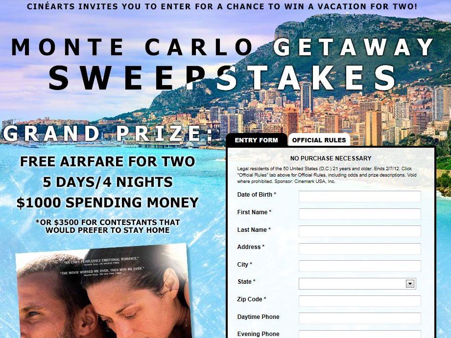 Cinemark Monte Carlo Getaway Sweepstakes
